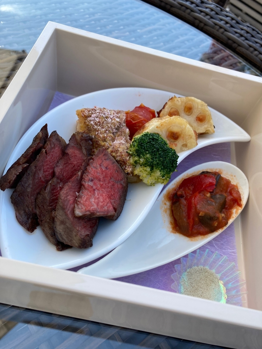 桜小箱、東京プリンスホテル、テラスカフェ、牛フィレ肉