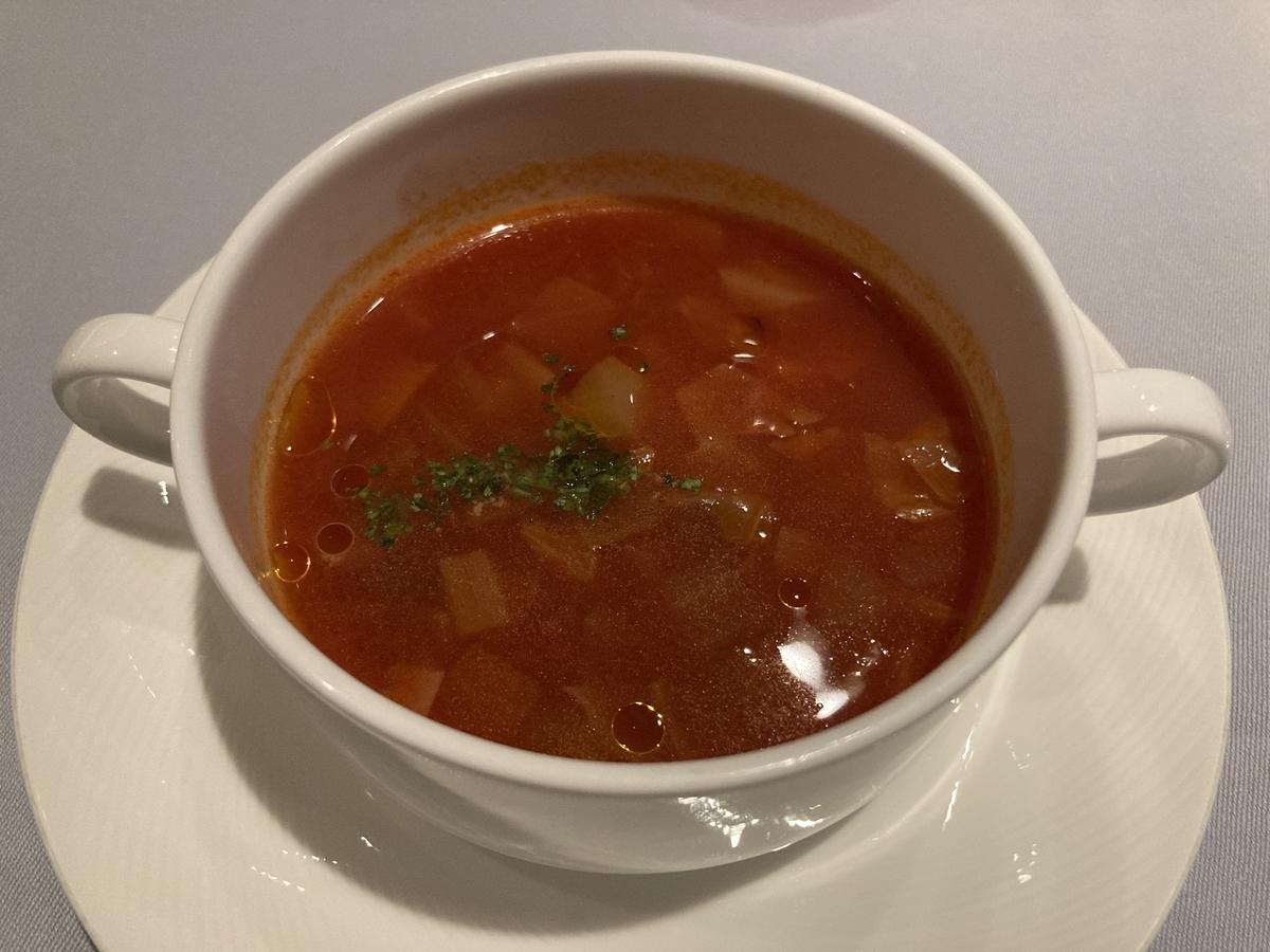 季節野菜のスープ、サザンタワーダイニング、ミネストローネスープ