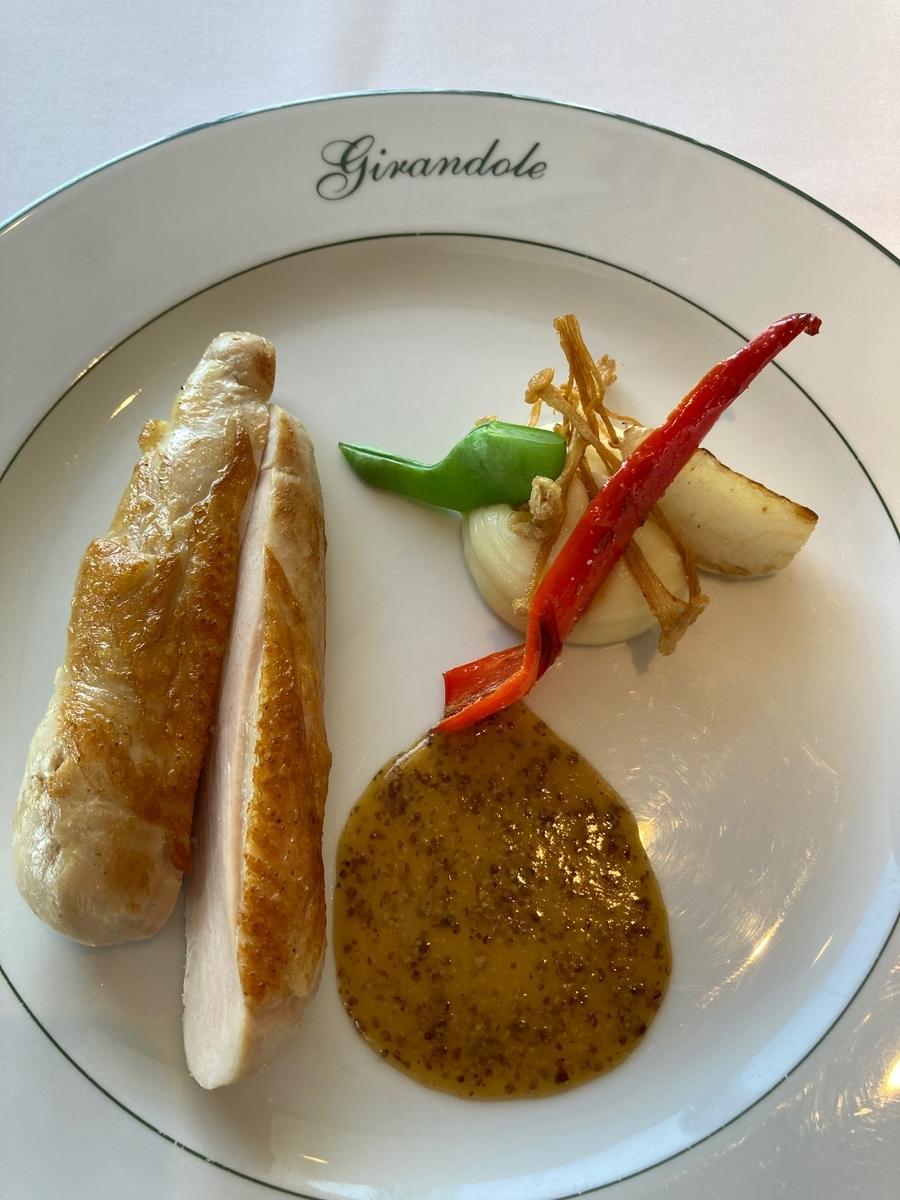 鶏肉のロースト、野菜のソテー、肉料理、ジランドール