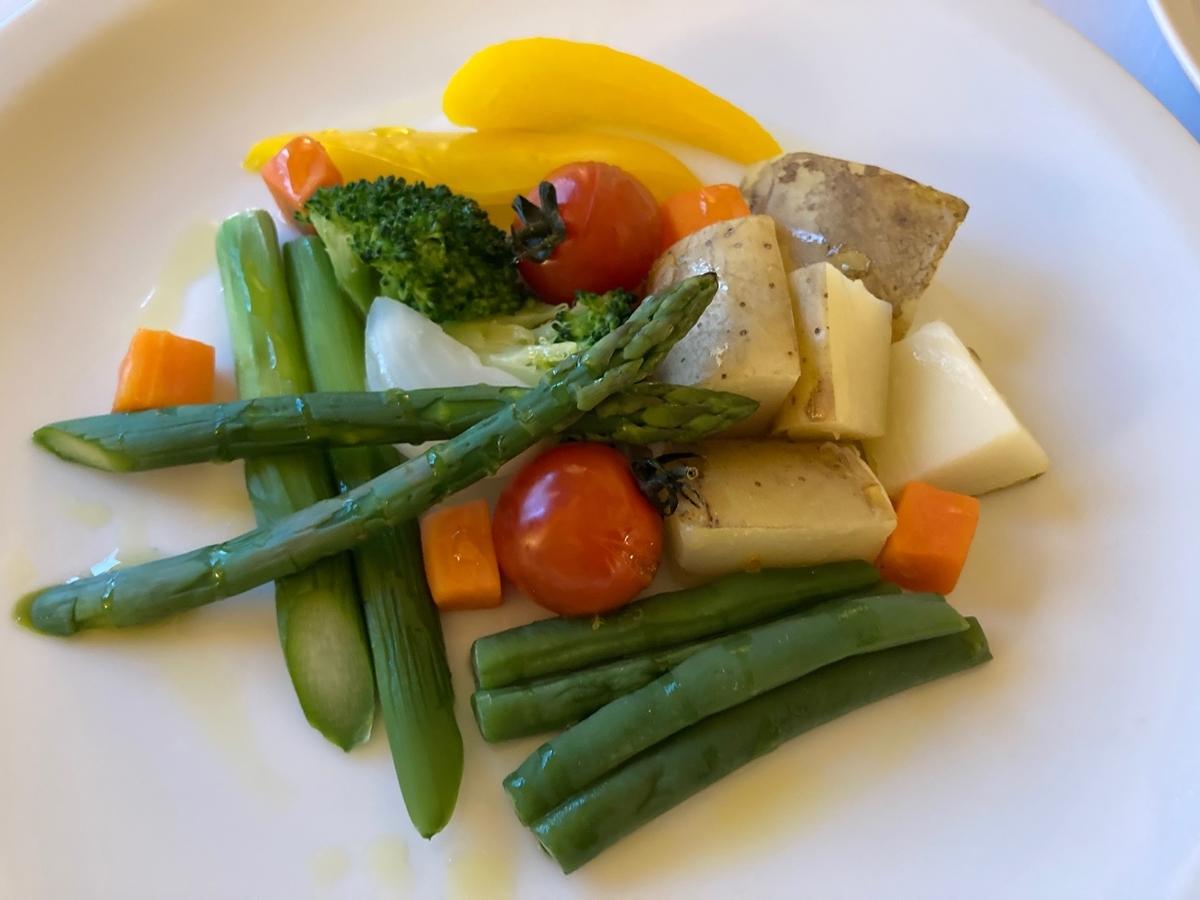 スチームベジタブル、野菜料理、ルームサービス