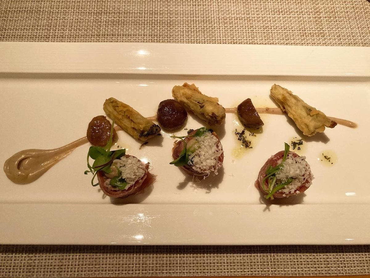 豚ヒレ肉、インボルティーノ、アーティチョーク、栗 、ローズマリ