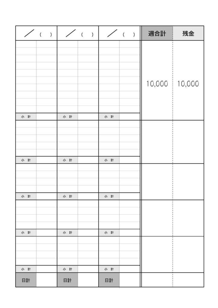 A4ルーズリーフ家計簿(ver.1)の印刷用データを作りました。