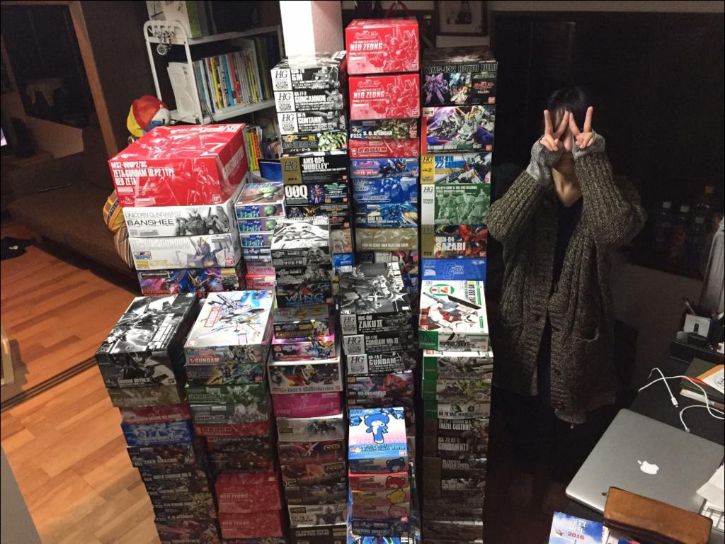 未完成のガンプラ約200箱(2016年1月現在)