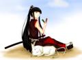 [SAI][オリキャラ][オリジナル][女侍][猫][だんご]一人と一匹の休息