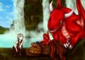 [オリジナル][滝][オリキャラ][SAI][ドラゴン][火の精霊]滝にて