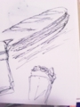 [ボールペン]フランスパン、クレープ