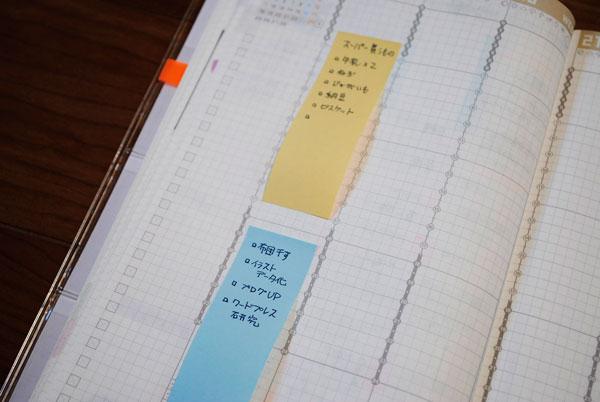ジブン手帳で付箋紙・大の活用図