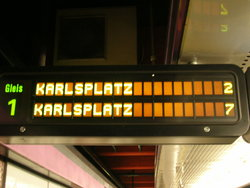 ウィーンの地下鉄電光掲示板