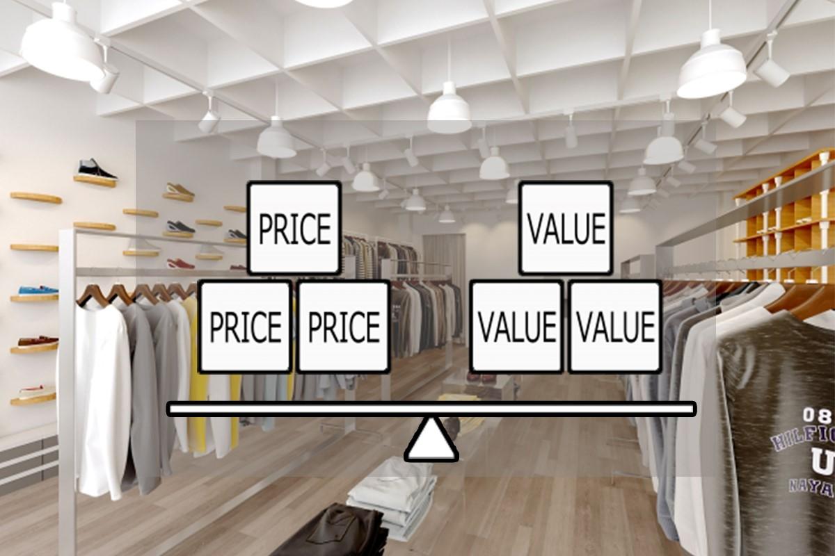 洋服屋で値付けを検討