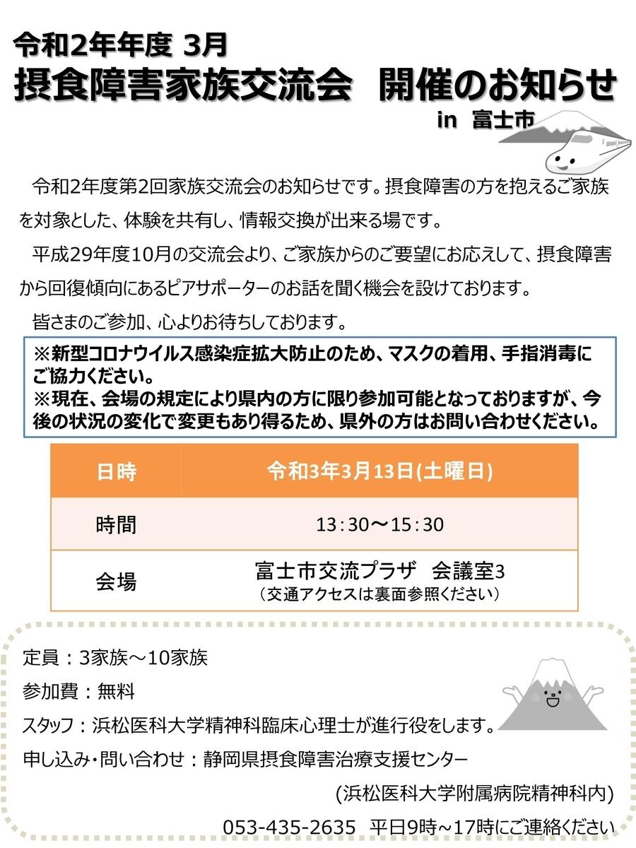 2021年3月13日 静岡摂食障害治療支援センター イベントチラシ