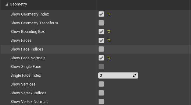 DebugDrawのGeometoryの表示項目の選択