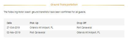 空港からポートカナベラルへの送迎が追加される