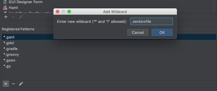 Registered Patterns で Jenkinsfile を追加