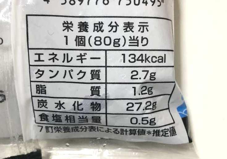 海苔巻きおにぎりの栄養成分