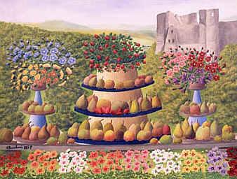 フルーツ皿に乗った果物と花々