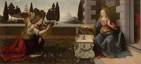 Leonaldo da Vinci, 《受胎告知》, 1472-73, ウフィッツィ美術館蔵