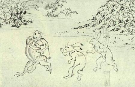 鳥獣人物戯画 甲巻(部分) 蛙がガブリ
