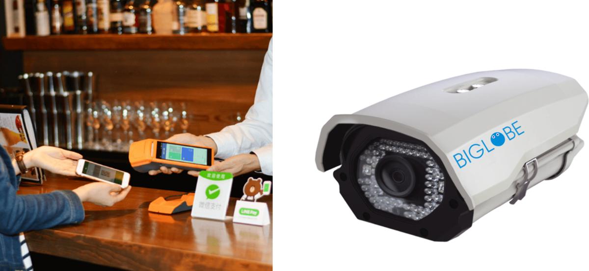 決済端末と監視カメラ