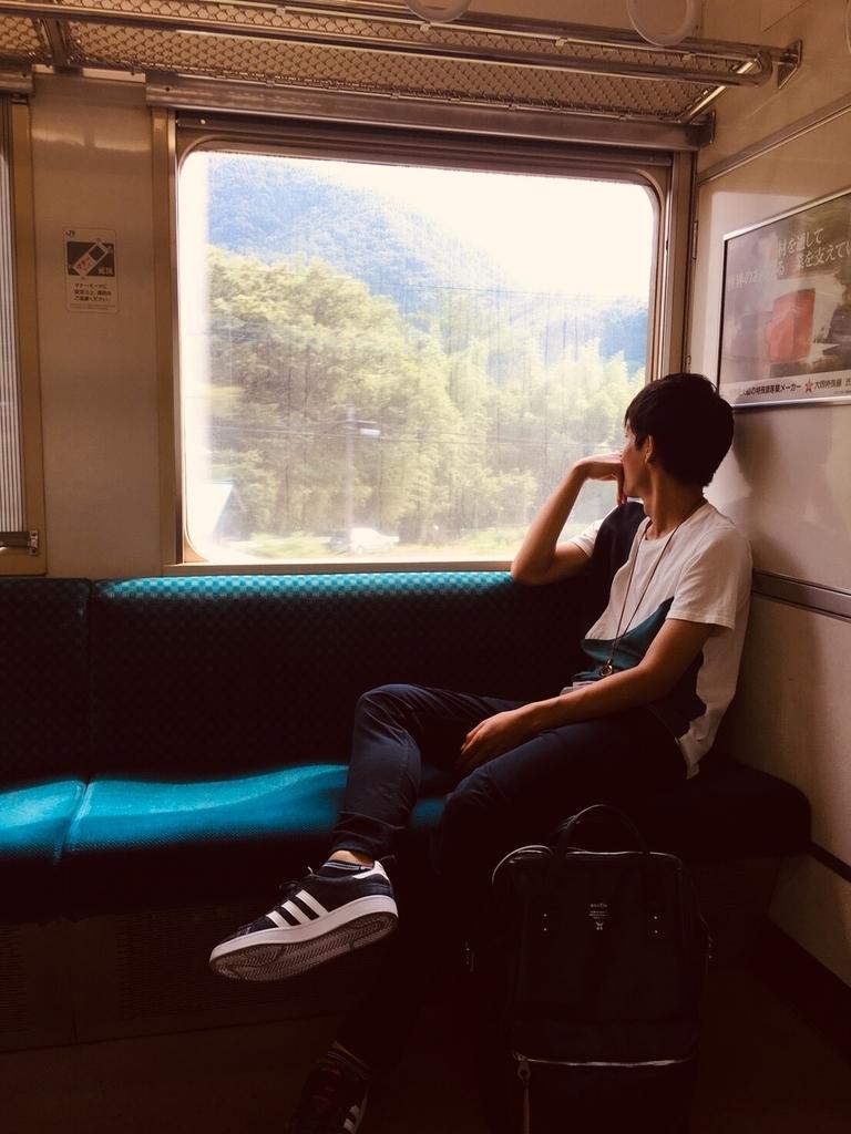 電車からの景色眺める男