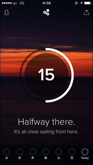 アプリ「Human」 15分歩いた画面