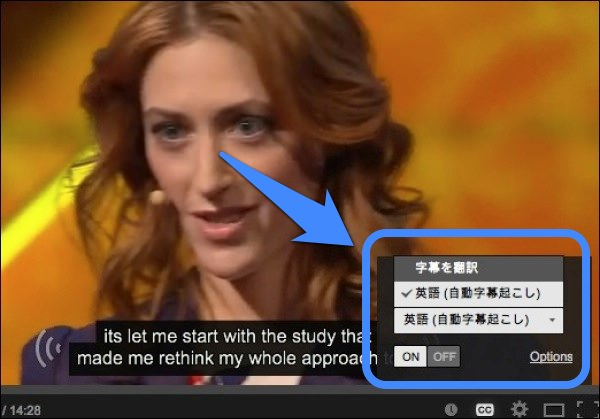 YouTube 字幕テロップを表示 メニューから「字幕をを翻訳」を選択