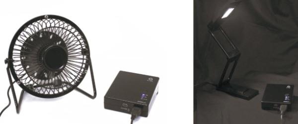手回し充電池 QM-051BK USB家電に接続している画像