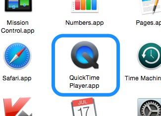 QuickTimePlayerはアプリケーションフォルダにある