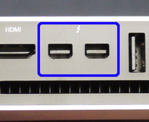 Mac miniのMini Displayport (Thunderbolt) 端子