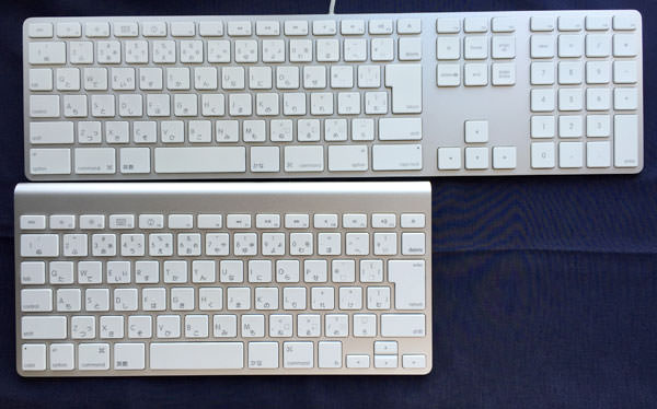 「Apple Keyboard (テンキー付き)」と「Apple Wireless Keyboard」の大きさ比較
