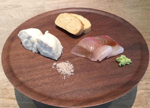 前菜の刺身と豆腐と卵焼き