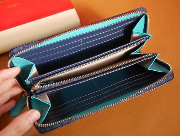 メンズラウンドファスナー財布の中を開いてみた