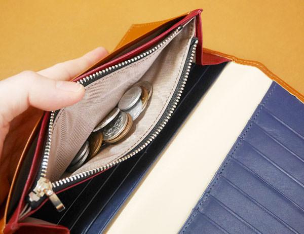 小銭入れはラウンドファスナー財布よりも入る量は少ない