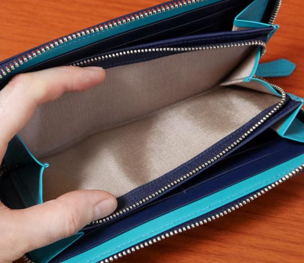 シンプルラウンド長財布の小銭入れの開く大きさ