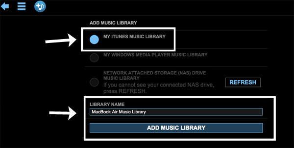 「MY ITUNES MUSIC LIBRARY」を選び、ライブラリー名をつけ「ADD MUSIC LIBRARY」をクリックする