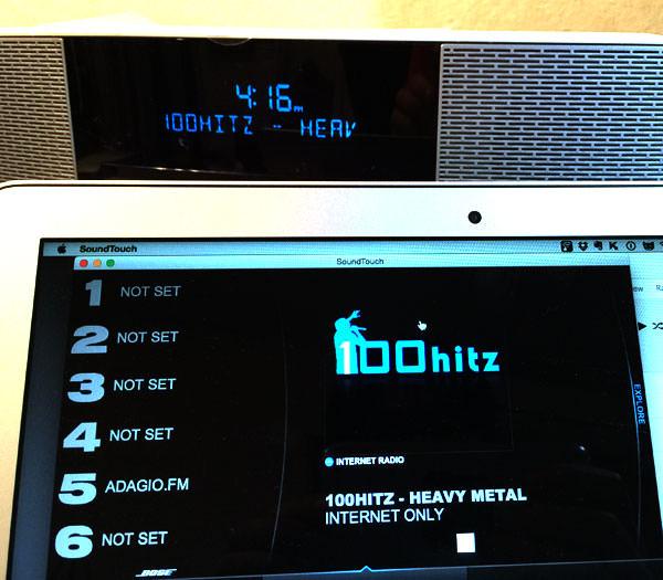 インターネットラジオを再生すると、Wave SoundTouch music system IVにラジオ局名が表示される