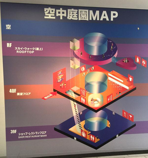 空中庭園マップ 3つの階層に分かれている