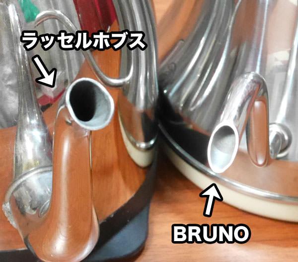 BRUNO「ドリップケトル」のほうが、ラッセルホブスよりも細い注ぎ口