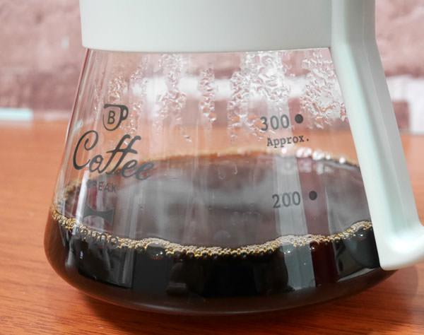 ガラスドリッパーにコーヒーが溜まる 150mlくらいでやめる