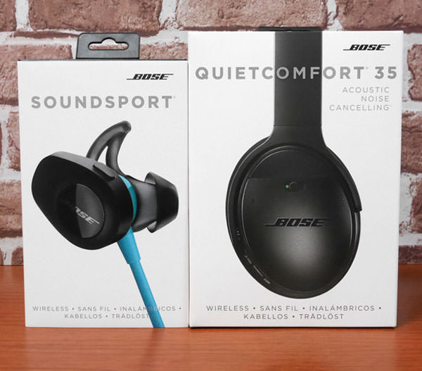 QuietComfort 35 wireless headphonesとSoundSport wireless headphonesのパッケージ画像