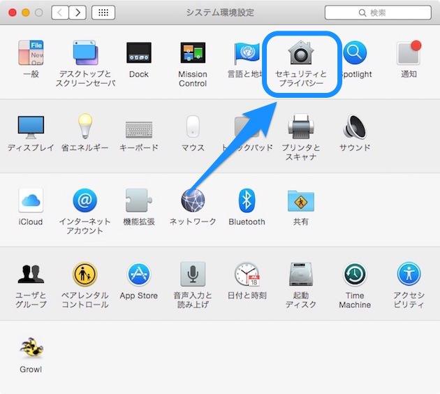 Macintoshのシステム環境設定画面