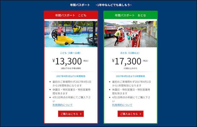 レゴランドジャパン 年間パスポート選択画面