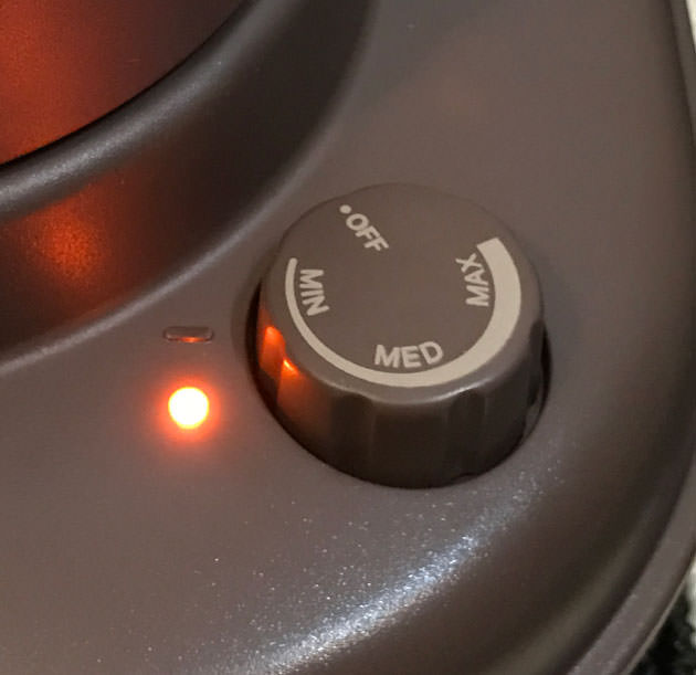 温度スイッチをMIN設定にした