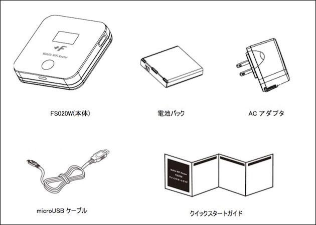 スマモバ 富士ソフト+F FS020W  同梱物一覧