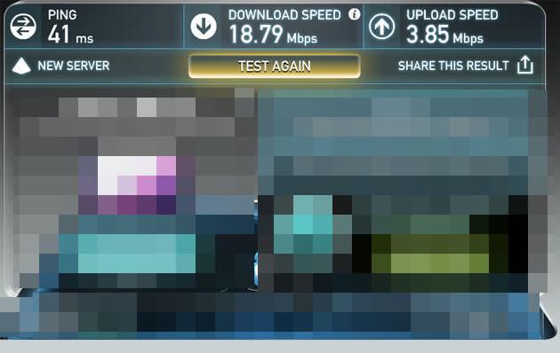 同時間 別アプリで計測 18Mbps出ている