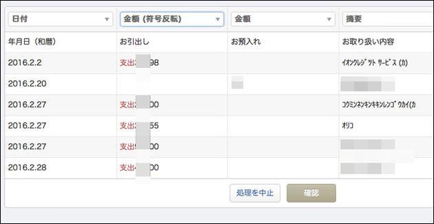 三井住友銀行のデータが読み込まれた
