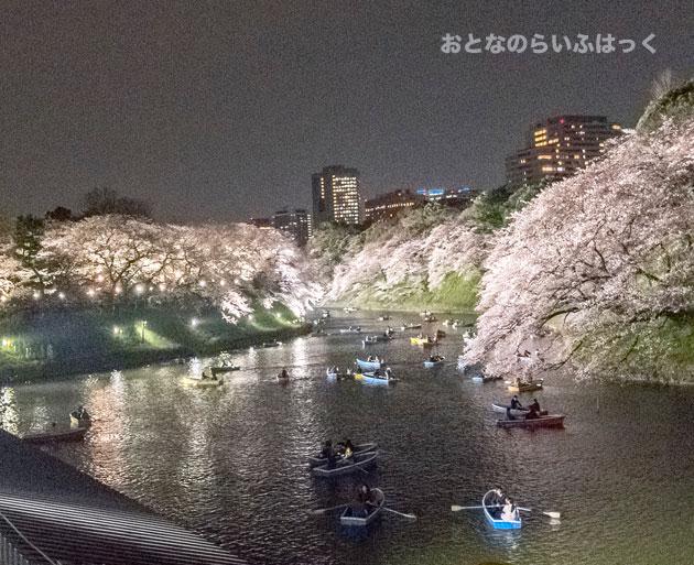 千鳥ヶ淵緑道の桜とボートを撮影 この写真を撮るのはひと苦労
