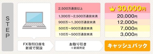 GMOクリック証券 最大30,000円がキャッシュバック