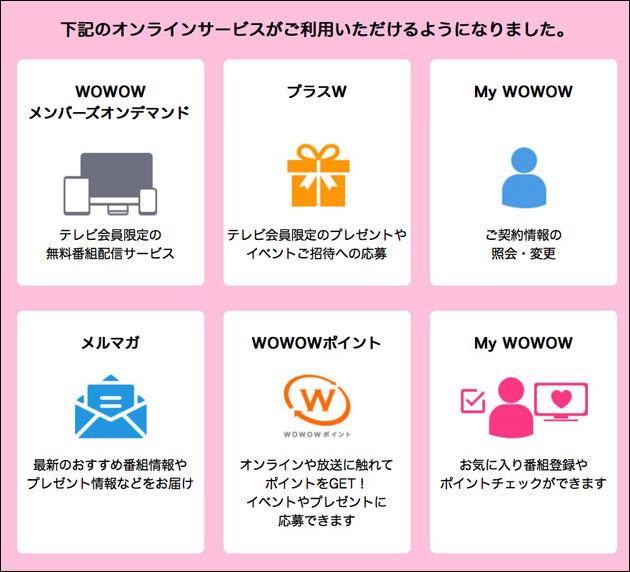 WOWOWのウェブ会員IDで利用できるサービス一覧
