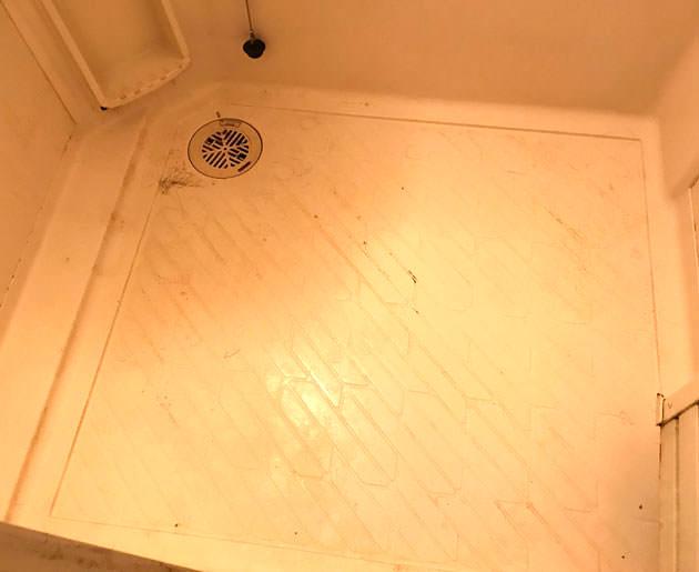掃除前の風呂場の床