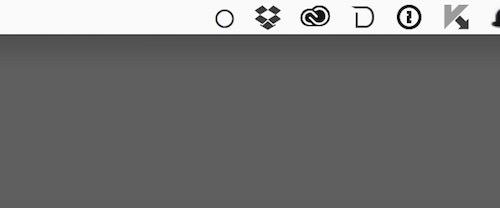 デスクトップが非表示の場合は、メニューのアイコンが白丸になる
